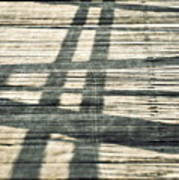 Shadows On A Wooden Board Bridge Art Print