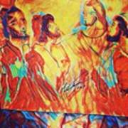 Shadrach, Meshach And Abednego In The Fire With Jesus Art Print