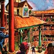 Shakespeare Performing At The Globe Theater Art Print