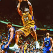 Shaquille O'neal Los Angeles Lakers Oil Art Art Print