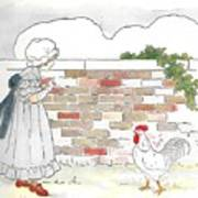 Shara And The Rooster Art Print