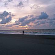 Sharing The Beach At Sunrise Art Print