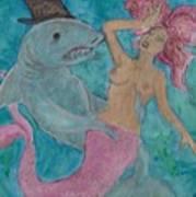 Shark And The Mermaid  Art Print