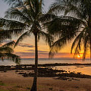 Sharks Cove Sunset 4 - Oahu Hawaii Art Print