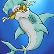 Sharks That Eat Cake Hammerhead Art Print by Sean Williamson