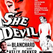 She Devil, Blonde Woman Featured Art Print