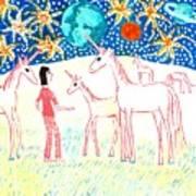 She Meets The Moon Unicorns Print by Sushila Burgess