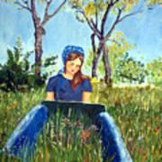 She Paints At The Lake Art Print