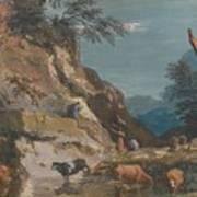 Sheep And Three Peasants Below A Cliff Art Print