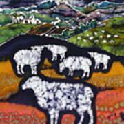 Sheep At Midnight Print by Carol  Law Conklin