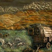 Sheep Herder's Wagon From Snowy Range Life Art Print by Dawn Senior-Trask