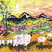 Sheep On Sunny Summer Day Art Print