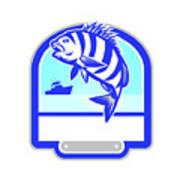 Sheepshead Fish Jumping Fishing Boat Crest Retro Art Print