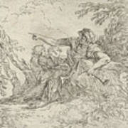 Shepherd Holding A Flute And Two Other Figures In A Landscape Art Print