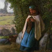 Shepherdess Seated On A Rock Art Print
