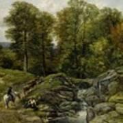 Shepherds Next To A Brook By Thomas Creswick Art Print