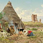 Shepherds Resting In The Roman Campagna Art Print