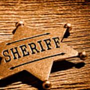 Sheriff Badge - Sepia Art Print
