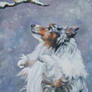 Shetland Sheepdog With Chickadee Art Print