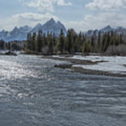 Shimmering Snake River And The Tetons Art Print