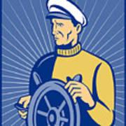 Ship Captain At The Helm  Art Print
