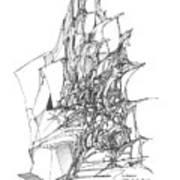 Ship Embedded In Rocks Art Print