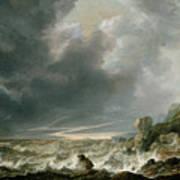 Ship In Distress Off A Rocky Coast Art Print