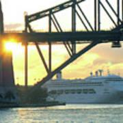Ship Under Sydney Harbour Bridge Art Print