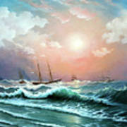 Ships In A Storm At Sunset Art Print