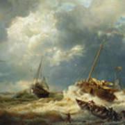 Ships In A Storm On The Dutch Coast Art Print