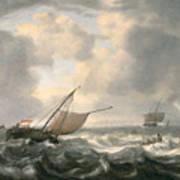 Ships On A Choppy Sea Art Print