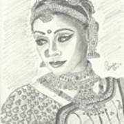Shobana Chandrakumar-bharatanatyam Dancer Art Print by Priya Paul