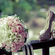 Shoes And Wedding Bouquet Art Print
