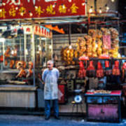 Shop Owner Standing In Front Of Poultry Shop On Temple Street Night Market Kowloon Hong Kong China Art Print