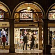 Shop Windows At Night On Piazza San Marco - Venice Art Print