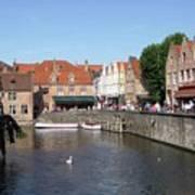 Shops Along The Canal Art Print