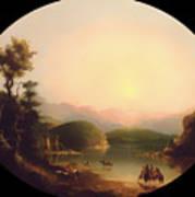 Shoshone Indians At A Mountain Lake Art Print