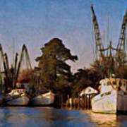 Shrimp Boat Fleet Georgetown Sc Art Print