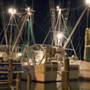 Shrimpboats And Night Art Print