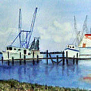 Shrimpboats At Dock Art Print