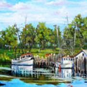 Shrimping Boats Art Print