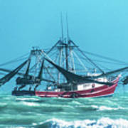 Shrimping On A Windy Day In Key West Art Print