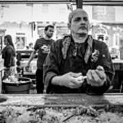 Shucking Oysters 2 - French Quarter- Bw Art Print