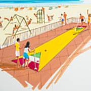 Retro Shuffleboard Art From The 1960's Art Print