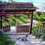 Siamese Cat At Hakone Side Gate Art Print