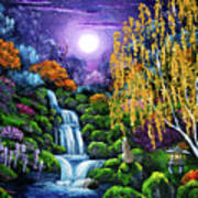 Siamese Cat By A Cascading Waterfall Art Print