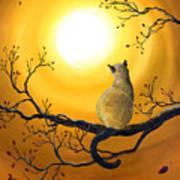 Siamese Cat In Autumn Glow Art Print