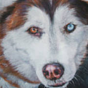 Siberian Husky Red Art Print