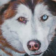 Siberian Husky Red Art Print by Lee Ann Shepard