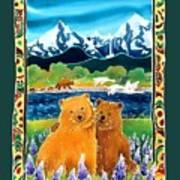 Sibling Bears Of Katmai Art Print